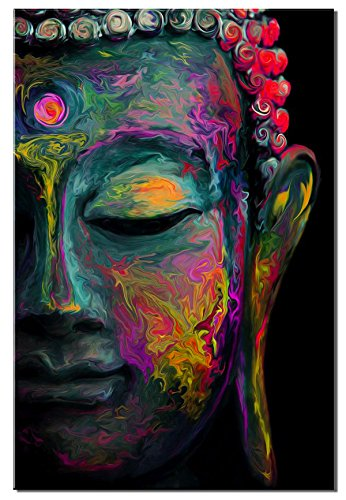 sunfrower Art-Modern Coloured Drawing Buddha Statue Wall Art Print on Canvas for Living Room Home Decorations Wall Art,Buddha Canvas Wall Art Decor Religion Painting Modern Print Framed Ready to Hang ()