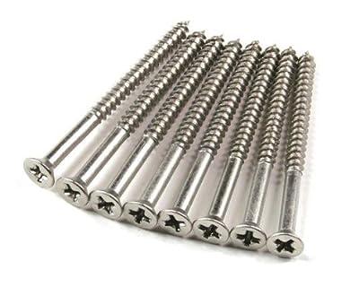 """Satin Nickel Wood Screws #9 X 2 1/4"""" for Residential Door Hinges - 96 Pack"""