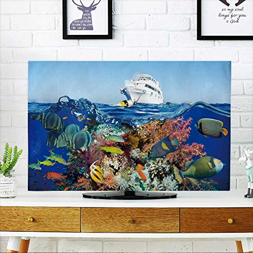"""Price comparison product image PRUNUS TV dust Cover Colorful Underwater Offshore Rocky Reef with Coral and sponges and Small Tropical Fish TV dust Cover W30 x H50 INCH/TV 52"""""""