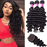 Star Show Hair Loose Deep Wave Bundles with Closure 100% Unprocessed Human Hair Extensions Weave Natural Color(22 24 26 with 20 Free Part Closure)