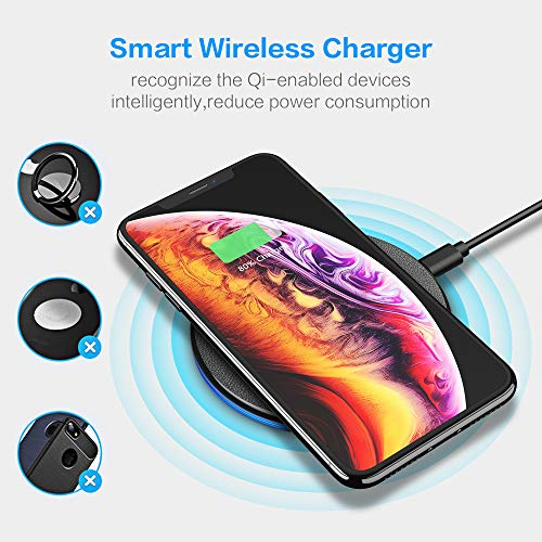 Wireless Charger, Compact Sleek Wireless Charging Compatible with iPhone Xs MAX/XR/XS/X/8/8 Plus, Galaxy Note 9/S9/S9 Plus/Note 8/S8 for All Enabled Phones(No AC Adapter)