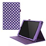 rooCASE Dual View Amazon Fire HD 10 2015 Case, Leather PU, Folio Slim Fit Lightweight Folding Stand Cover, Auto Wake/Sleep, Polkadot Purple