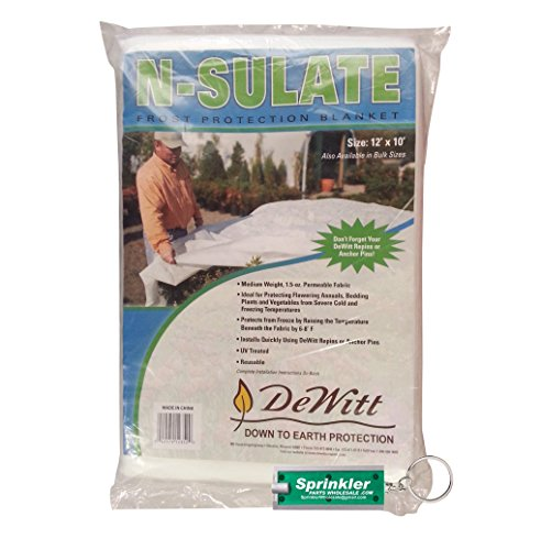DeWitt NS12 Fabric N Sulate Plant Protection, 10-Feet, 1.5- Ounce DeWitt NSulate including a SprinklerPartsWholesale Flashlight Keychain with every order! (10) by DeWitt