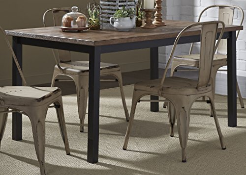 - Liberty Furniture INDUSTRIES 179-T3660 Vintage Dining Series Rectangular Leg Table, Distressed Metal Finish