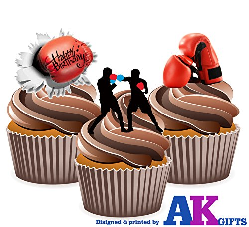 Price comparison product image AKGifts Boxing Gloves Happy Birthday Mix- 12 EDIBLE WAFER CAKE TOPPERS STAND UP STANDUPS
