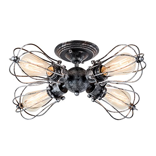 Vintage Ceiling Light Industrial Semi-Flush Mount Ceiling Light Metal Fixtures Painted Finish; Moonkist (With 4 Light) (Silver) For Sale