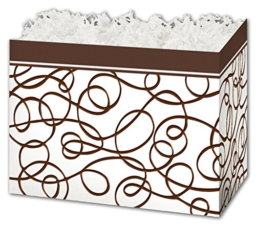 (Patterned Specialty & Event Boxes - Chocolate Drizzle Gift Basket Boxes, 6 3/4 x 4 x 5