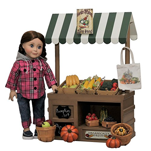Complete 18 Inch Doll Wooden Roadside Farm stand with Fresh Fruit, Veggies, Wooden Crates & Canvas Shopping Bag. Plus 18'' doll Farm Girl pants & Shirt plus Chalkboard Signs by The Queen's Treasures