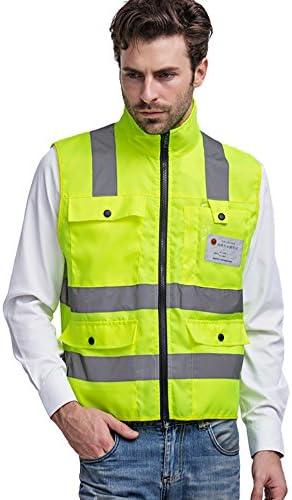 ENJOHOS Warnwesten gelb knitterfrei reflektierende Weste Sicherheitswarnwesten mit Vier Taschen im Vornen mit Reißverschluss Hohe Sichtbarkeit komfortabel luftdurchlässig (L)