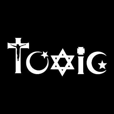 "EvolveFISH Toxic Religion Weatherproof Vinyl Decal - [White][5""]: Automotive"