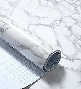 Amazon Com Grey Marble Look Contact Paper Gloss Film