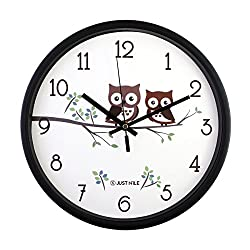JustNile 12-Inch Silent Wall Quartz Clock with Modern & Creative Black Frame; Extreme Time Precision; Smooth Hand Non-Ticking Movement –Cute Owls design
