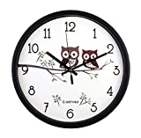 Cheap JustNile 12-Inch Silent Wall Quartz Clock with Modern & Creative Black Frame; Extreme Time Precision; Smooth Hand Non-Ticking Movement –Cute Owls design
