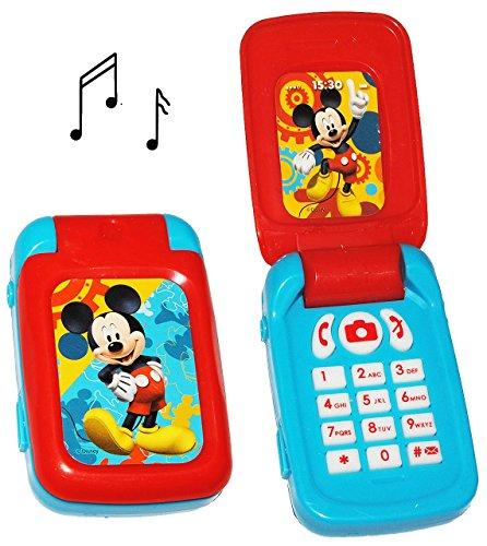 elektrisches Handy mit SOUND - Disney Mickey Mouse - für Kinder / Jungen & Mädchen - Maus - Auto Kinderhandy / Spielzeughandy - Spielzeugtelefon - Klapphandy Telefon - Lernhandy / Kindertelefon zum Aufklappen - Spielzeug Musik Melody - Flip Top