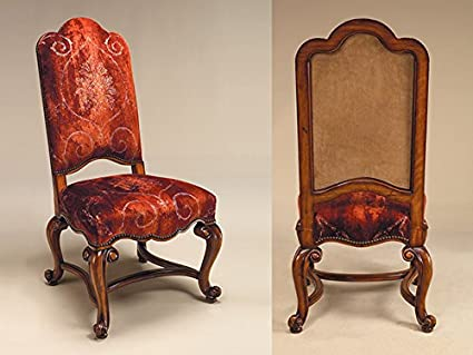 Maitland Smith 4030 621 Hand Carved Frontier Finished Side Chair, Rust  Patterned Velvet Upholstery