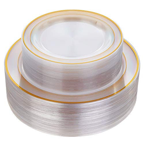 - 96 Pieces Plastic Gold Plates, Gold Disposable Plates Includes: 48 Dinner Plates 10.25