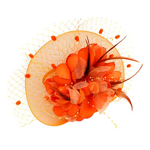 Headbands for Women Hair Non Slip,Headbands with Bow,Headbands for Washing Face, Women Fascinators Hat Feather Floral Mesh Hair Clip Cocktail Tea Party Headwear - Orange