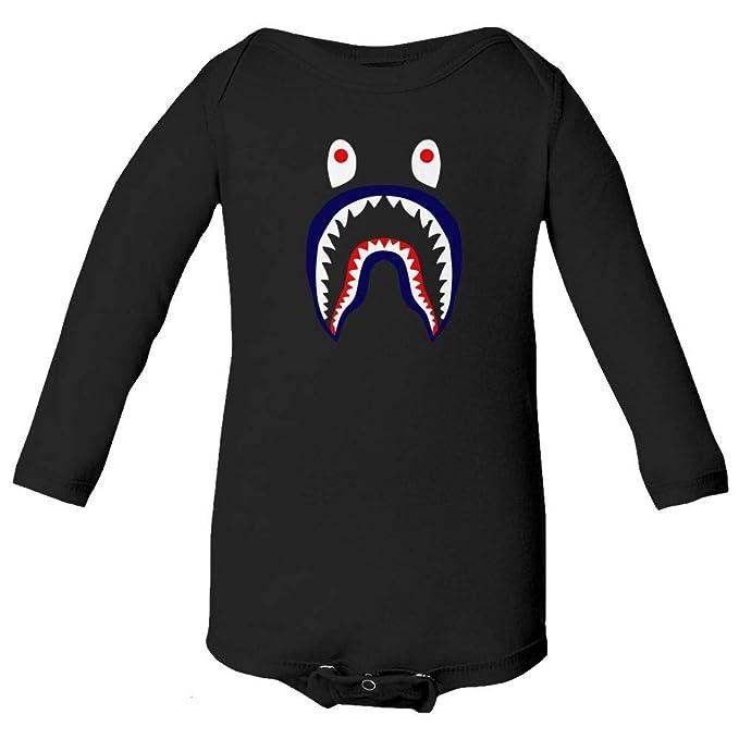 5acbd95b Qasimoff New Graphic Shirt Bape Shark Little Infant Baby Long Sleeve  Bodysuit (Black, NB