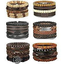Adramata 24-25Pcs Woven Leather Bracelet for Men Women Wrap Cuff Bracelets Adjustable
