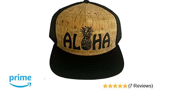 6901f00b1bc Amazon.com  ThatsRad Aloha Pineapple Cork Snapback Mesh Trucker Hat Cap  Flat Brim Shaka Hawaii  Clothing