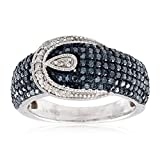 Sterling Silver 1.0ct Blue and White Diamond Buckle Ring (H-I I2-I3)
