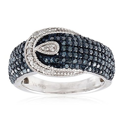 Sterling Silver 1.0ct Blue and White Diamond Buckle Ring (H-I I2-I3) by V3 Jewelry