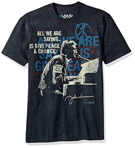 Liquid Blue Unisex-Adult's John Lennon People for Peace Tie Dye Short Sleeve T-Shirt, Black/Grey, X-Large (Black Tee Adult John Apparel)