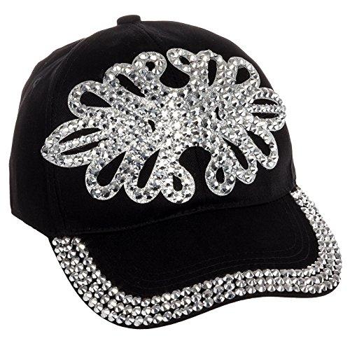 Rhinestone Black Baseball Hat - 8