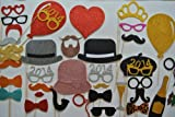 Wedding Photo Booth Props 100 PC 80 as seen in picture 10 extra 2014 glasses 10 mustaches gold and silver  New Years Holiday season Mustache on a stick  photo booth props