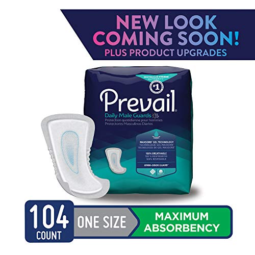 Pads Guard - Prevail Maximum Absorbency Incontinence Male Guards One Size 104 Count Breathable Rapid Absorption Discreet Comfort Fit Adult Diapers