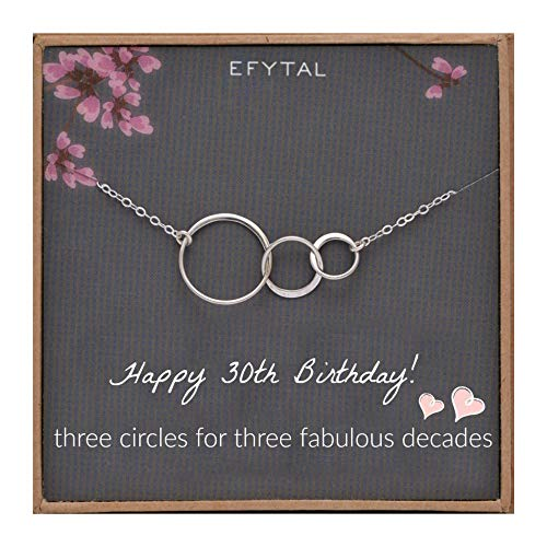 EFYTAL 30th Birthday Gifts for Women Sterling Silver Three Circle Necklace for Her 3 Decade Jewelry 30 Years Old (Best 30th Birthday Gifts For Her)