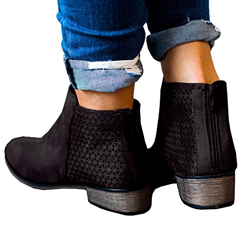 Faux Heeled on Block Boots Chunky Z Ankle Womens Stacked Leather Casual Slip black Heel Booties Shoes cRf1nWq7