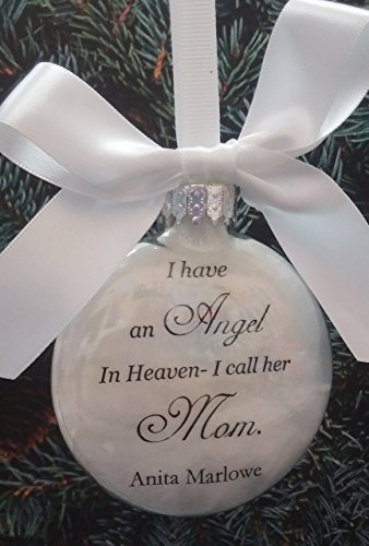In Memory Mother Memorial Ornament ..Angel in Heaven, I call her Mom.. Personalized Keepsake Sympathy (Rustic Angel Ornament)