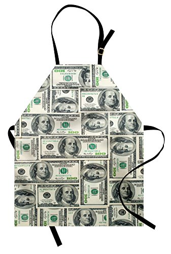Ambesonne Money Apron, Dollar Bills of United States Federal Reserve with The Portrait of Ben Franklin, Unisex Kitchen Bib with Adjustable Neck for Cooking Gardening, Adult Size, Green Grey]()