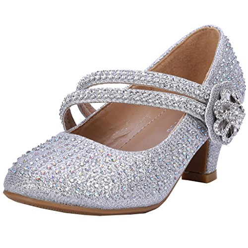 Coshare Girl's Fashion Little Heel Rhinestone Mary Jane Floral Dress Pumps, Silver, 10 M US (Children Dress Shoes compare prices)