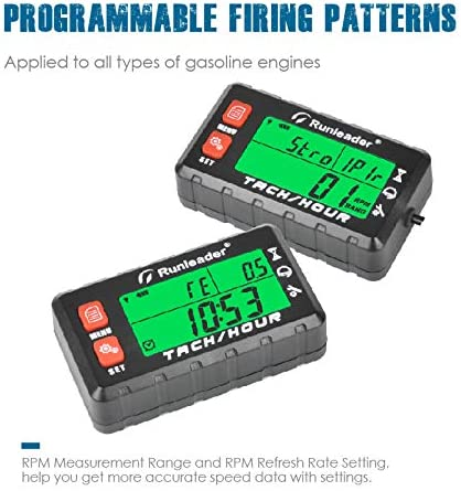 Alert RPM Reminder Battery replaceable Runleader Hour Meter Tachometer Use for Lawn Mower Generator Marine ATV and Gas Powered Equipment Initial hours Settable Maintenance Reminder HM058B-RD