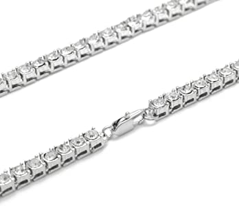 Hip Hop 14K White Gold Plated Iced Out 1 Row Round Cut 5mm CZ Tennis Necklace 18 inch 20 24 30 inch 20 24 30 inch CharMen Fashion