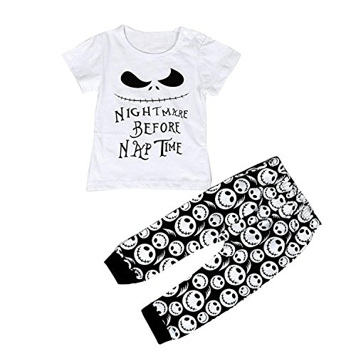 YONYWA Toddler Baby Boys Cartoon Letter Printed T-shirt Tops Pants Clothes Set Outfits, white, 3-6 Months, Tag Size - (70 Outfit)