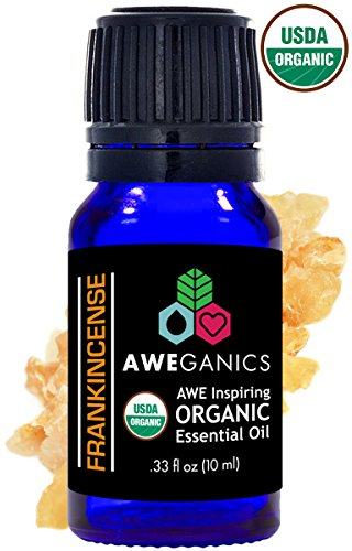 Aweganics Pure Frankincense Oil USDA Organic Essential Oils 100% Pure Natural Premium Therapeutic Grade, Best Aromatherapy Scented-Oils for Diffuser, Home, Office, Personal Use - 10 ML - MSRP $14.99 from AWEGANICS