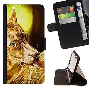 Momo Phone Case / Flip Funda de Cuero Case Cover - Oro Terrier australiano Ovejas Corgi; - Samsung Galaxy E5 E500