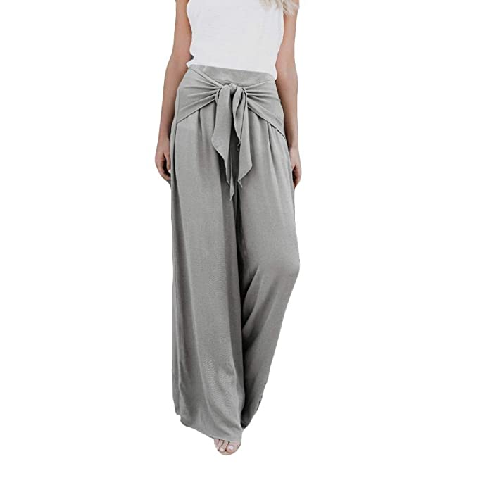 feba219fdda929 Women's Palazzo Pants,Loose High Waist Wide Leg Bell Bottom Flare Tie Front  Knot Trousers