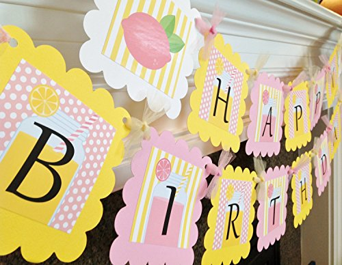 Pink Lemonade Stand Happy Birthday Banner - Pale Pink Polka Dots, Yellow Stripes & White Accents - Party Packs Available