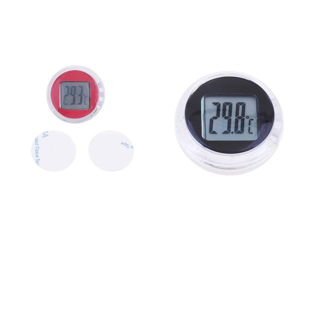 D DOLITY 2pcs Universal Mini Thermometer LCD Display Digital Temperature Meter Gauge for Motorcycles Scooter, Self-Sticking, Waterproof (Black+Red) by D DOLITY