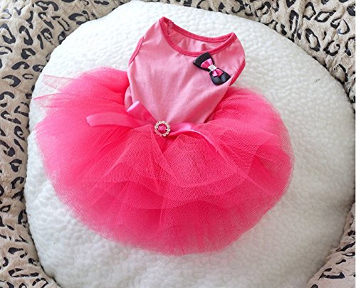 ONOR-Tech Lovely Cute Doggy Apparel Clothes Pet Puppy Dog Cat Bow Tutu Princess Dress Wedding Party Dress (Doggy Clothes)