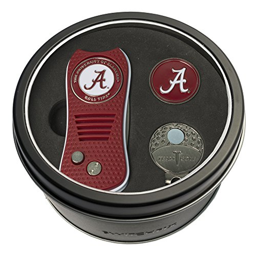 Team Golf NCAA Alabama Crimson Tide Gift Set Switchblade Divot Tool, Cap Clip, & 2 Double-Sided Enamel Ball Markers, Patented Design, Less Damage to Greens, Switchblade Mechanism