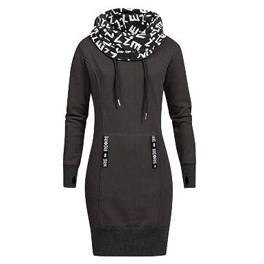 Kleid Kolylong Damen Elegant Weihnachten Pullover Kleid mit Kapuze Herbst  Winter Warm Sweatshirt Lang Hoodie Rentier 88d66fdaa7