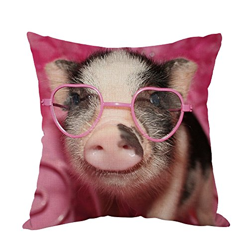 Moslion Pig Pillow,Home Decor Throw Pillow Cover Little Pig Wear Pink Sunglass Cotton Linen Cushion for Couch/Sofa/Bedroom/Livingroom/Kitchen/Car 18 x 18 inch Square Pillow ()