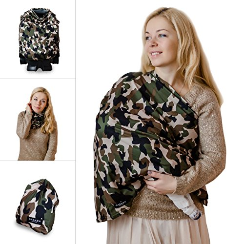 Nursing Breastfeeding Cover Scarf - Baby Car Seat Canopy, Shopping Cart, Stroller, Carseat Covers for Girls and Boys - Military Camo (Car Seat Covers Baby Camo)