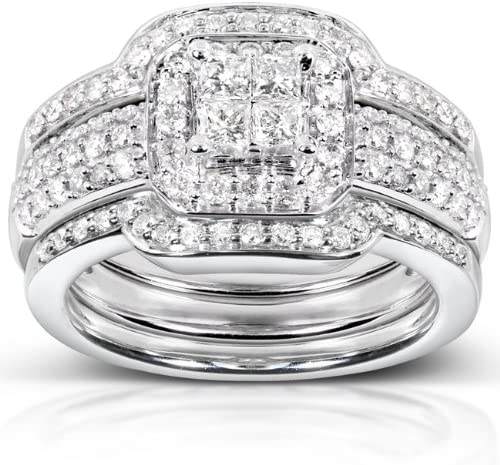 Kobelli Princess Diamond Wedding Set 3/4 carat (ctw) in 14k White Gold - 3 Piece Set