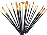 #10: Timemorry 10/12/15 Pieces Painting Brushes with Carry Case, Nylon Hair + Wooden Handle Artist Paint Brushes for Acrylic, Oil, Watercolor Painting (15Pieces, Black)